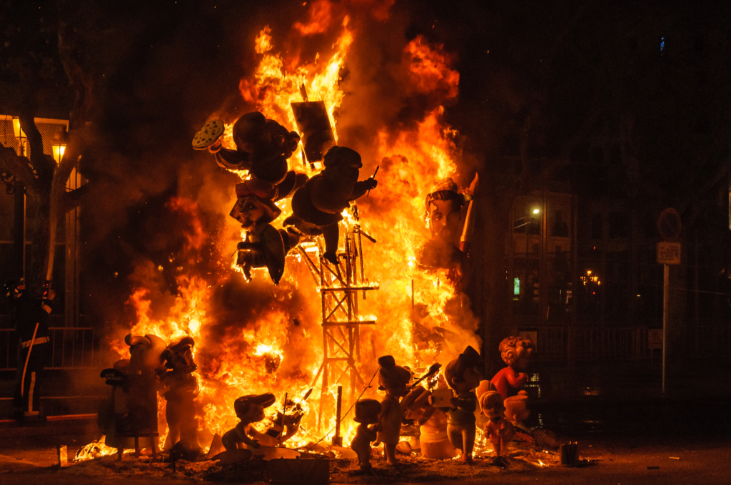 Burning ninots at Las Fallas